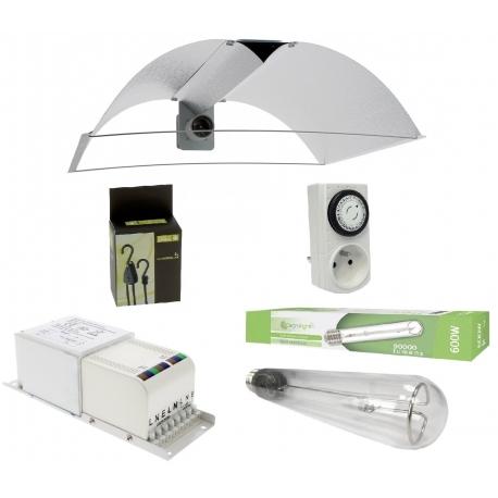 Kit HPS 600W Agrolight avec réflecteur ouvert et ajustable