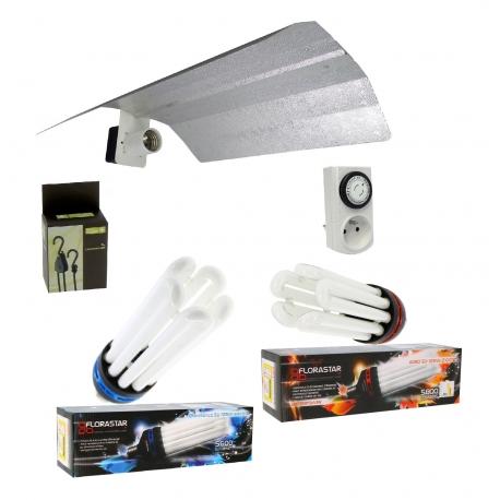 Kit lampe double CFL 125W croissance + floraison