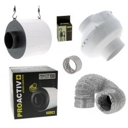 Kit anti-odeurs - extracteur 250m3/h + filtre à charbon Proactiv 100mm