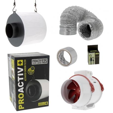 Pack anti-odeur - filtre Pro Activ 250m3/h + extracteur diamètre 125mm