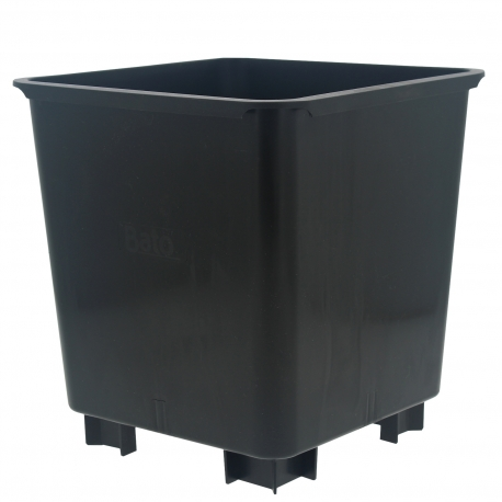Pot carré noir 24.5x24.5x26cm - avec pieds 3cm