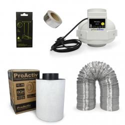 Kit extracteur 420m3/h + filtre à charbon Proactiv 125mm