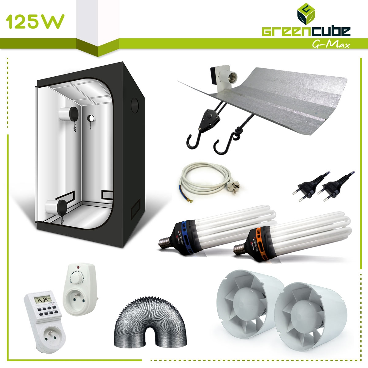 Pack de culture int rieur complet lampe cfl 125w et for Tente de culture interieur